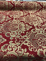 30 Yard Roll Chenille Upholstery Damask Ruby Red Gold Print Cleopatra  fabric