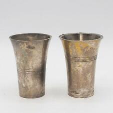 Vintage Silver Plate Aperitif Shot Glass Pair