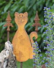 Katze Miez Zaunhocker Zaunfigur Gartenstecker Gartendekoration Metall Rostig