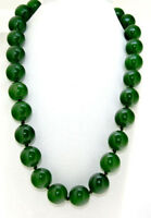 """Exquisite NATURAL 8/10/12/14MM GREEN Jade Round Beads Gemstone NECKLACE 18"""" AAA"""