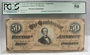 1864 $50 CT-66 Confederate Civil War Counterfeit Banknote Hoard PC-183