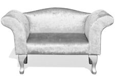 Silver Crushed Velvet Bedroom Chaise Seat Loveseat Bench Window Seat