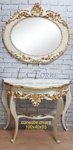 Console da parete con specchiera chiara avorio oro entratina soggiorno arredo