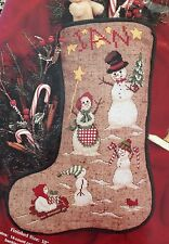 "Janlynn SnoFolks Christmas Stocking Cross Stitch Kit 02-443 15"" Personalize 1997"