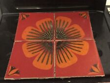 H & R Johnson Ltd Cristal Ceramic Wall Tiles Red/Orange Floral Vintage Used