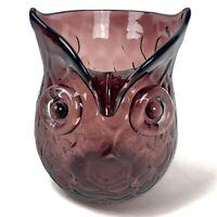 Amethyst Glass Owl Bud Vase Honeycomb pattern Purple Mid-Century Modern Vintage