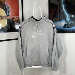 Mens Vintage NIKE Spellout Swoosh Y2K 2000's Pullover Hoodie Grey/Silver - Large