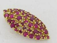 s P058  Genuine 9K Solid Gold NATURAL Ruby Pave set Navette shape Slider Pendant