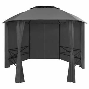 Garden Marquee Pavilion Tent with Curtains Hexagonal 360x265 party Gazebo Grey