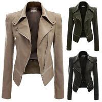Slim Biker Motorcycle Zipper Soft PU Leather Jacket Short Women Coat New Outwear