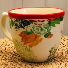 New listing The Pioneer Woman Country Garden 17 Ounce Red Rim Stoneware Floral Coffee Mug