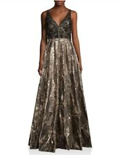 Badgley Mischka Collection V-Back Metallic Brocade Gown Evening Dress Size 2