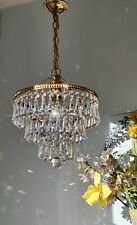 More details for 💖pretty vintage 3 tier brass & lead crystal waterfall chandelier light 2 of2 💖