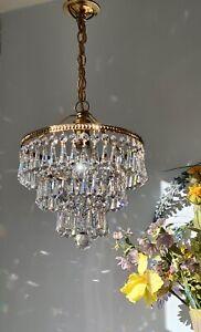 💖Pretty Vintage 3 tier Brass & Lead Crystal Waterfall Chandelier Light 1of 2 💖
