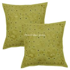 Indian Decorative Sofa Cushion Covers 40x40 cm Embroidered Pillowcases Cotton