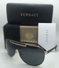 New VERSACE Sunglasses VE 2140 1002/87 Gold & Black Shield Frame w/ Grey lenses