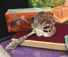 Antique sterling silver repousse wide 5 inch spoon