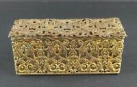Vintage Filigree Brass Trinket Dresser Box Gilt Gold