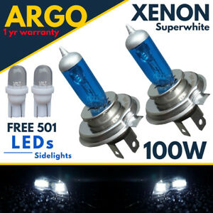For Nissan Micra K12 Headlight Bulbs White Xenon 100w High/Low/Led Side Light