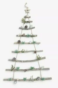 John Lewis Hanging Christmas Wooden Ladder Tree Stars Pine Cone Wall Decoration