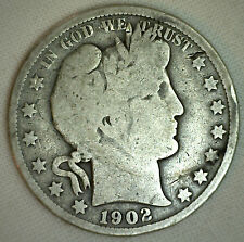 1902 Barber Half Dollar Silver Type Coin Fifty Cents 50c Good U.S. Coin #R