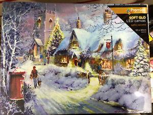 Premier Christmas LED Canvas Soft Glow Picture - Snow With Church 30cm x 40cm