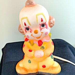 "Lefton Happy Clown Lamp Night Light Nursery Bedroom 7"" Vintage Working"