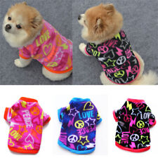 Small Dog Clothes Soft Fleece Short Sleeve Warm T-shirt Puppy Vest Sweater XS-L