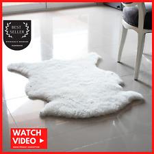 100% Genuine Sheepskin Rug, Ivory White, Australian Sheep Rug 22 x 30 in.