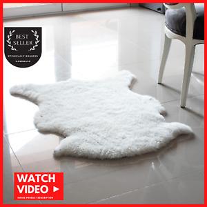 100% Genuine Sheepskin Rug, Ivory White, Australian Sheep Rug 2 X 3 ft