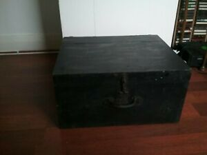 Vintage Antique Wooden Storage Box Coffee Table