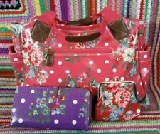 Flowers and Oil Cloth Bag Purse Wallet tote School red pink purple set job lot