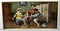 1890s Antique Print The Game of Cards Three Musketeers Scene Art