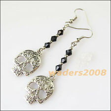 2Pairs Women Jewelry Winsome Retro Skull Black Crystal Long Dangle Hook Earrings