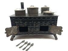 Antique Marklin Style German Pressed Tin Toy Stove w/ Six Pots + Lids