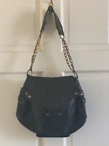 Vintage Isabel Marant Black Shoulder Bag With Brass Chains