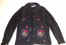 White Stag Black Christmas Wreaths Sweater Cardigan With Matching Scarf Size L