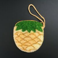 Vintage Handmade Beaded Pineapple Coin Purse Yellow & Green Change Pouch
