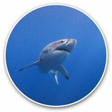 2 x Vinyl Stickers 10cm - White Shark Marine Ocean Cool Gift #14210