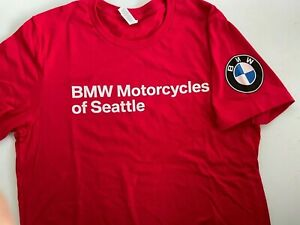 New Original Factory BMW MOTORCYCLES OF SEATTLE Red Small T-Shirt  Priority Ship