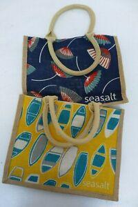 2 x Jute SEASALT Carrier Tote Reusable Shopping Bags 30 x 24 x 10cm B8