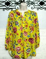 Adrienne Vittadini Top Size M 3/4 Sleeve Multi Colored  Floral Round Neck Blouse