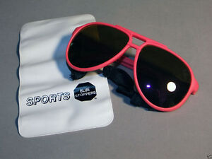 Sports sunglasses, blue stoppers, U.V. protection, all weather lens pink frames