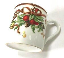 """TIFFANY & Co 3 1/2"""" Tall Christmas HOLIDAY Pattern Mug Ribbon"""