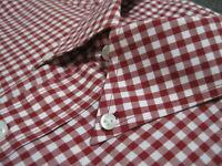 JOS A BANK TRAVELER'S Men's Medium Red Gingham Plaid Long Sleeve Shirt_S535