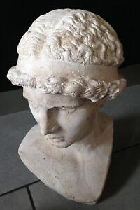 ancien buste sculpté Apollon-grec-romain-art antiquités-antique-xix-19em-vintage
