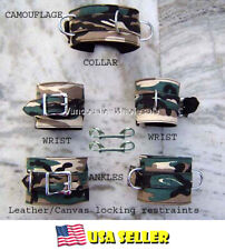 7pc Real Leather Camouflage Black Restraint Wrist Cuffs Ankle Posture Collar Set