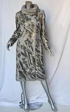 VALENTINO Grey Wool+CASHMERE Heavily BEADED JEWELLED+FUR-COLLAR Coat Jacket 8
