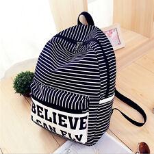 Women Vintage Striped Casual Travel School Backpack Shoulder Bag Rucksack Canvas