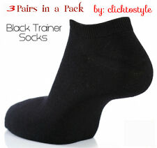 3 Pares mujeres Negro transpirable Calidad Trainer Forro calcetines de tobillo UK Size 6-11